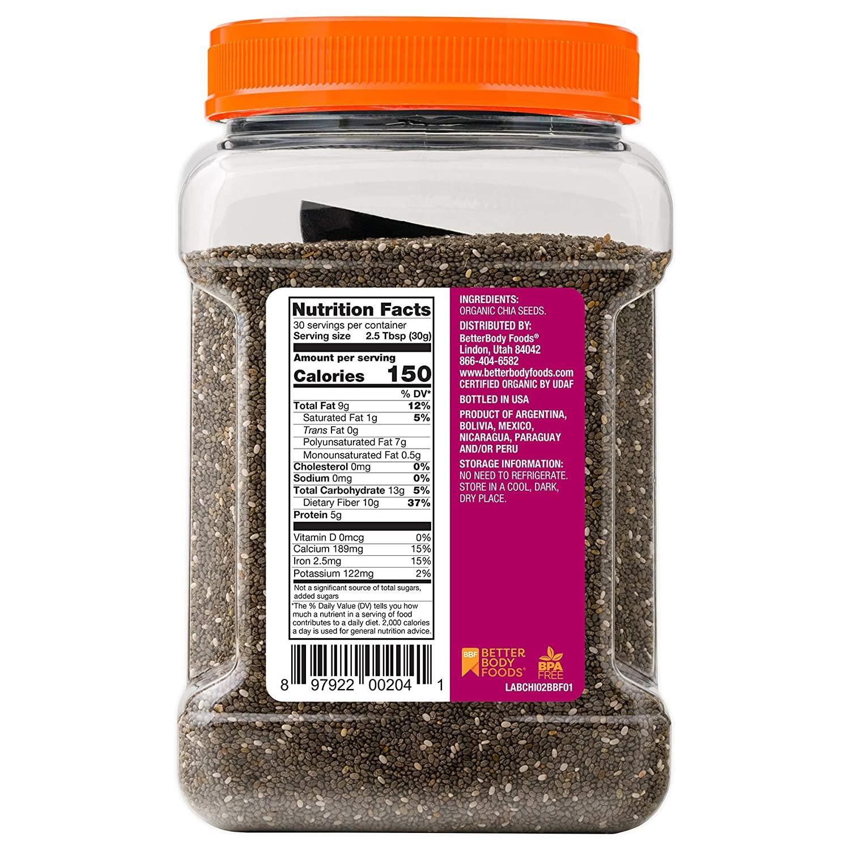 Hạt Chia BetterBody Organic Chia Seeds, 907g